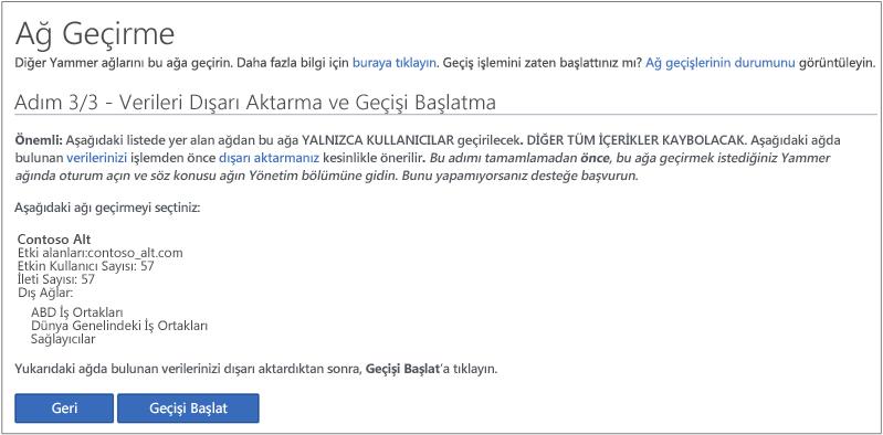 Adım 3/3 - Verileri Dışarı Aktarma ve Geçişi Başlatma ekran görüntüsü