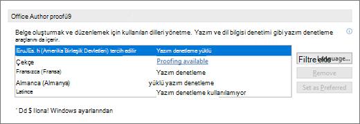 Office yazma dilleri ve yazım denetleme