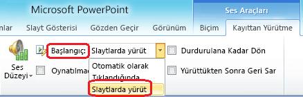 """PowerPoint 2010'da ses dosyası için """"Slaytlarda yürüt"""" seçeneği"""