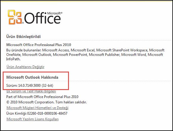 Microsoft Outlook Hakkında altında Outlook 2010 sürümünü denetleyebileceğiniz sayfanın ekran görüntüsü