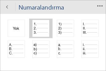 Word Mobile'da numaralandırma stilinin seçili olduğu Numaralandırma menüsünün ekran görüntüsü.