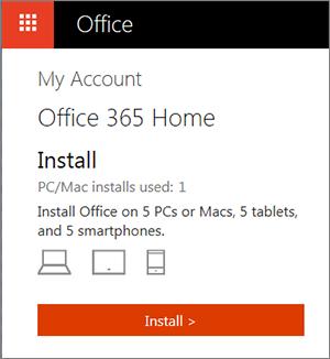 Yükleme düğmesinin gösterildiği Office Mağazası Hesaplarım sayfası