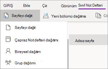 Eylemler açılan listesini içeren sayfayı dağıt düğmesi.
