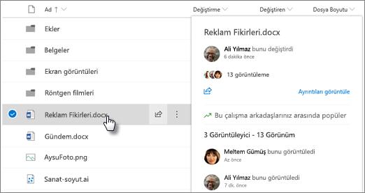 Bir dosyayı OneDrive veya SharePoint üzerine geldiğinizde görüntülenen dosya Vurgu kartı görüntüsü