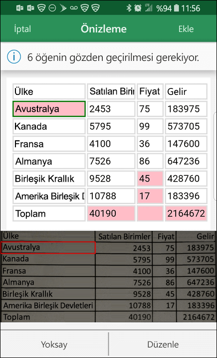Excel resimden verileri içeri aktar özelliği, size verilerinizi dönüştürürken bulduğu sorunları düzeltme olanağı tanır.