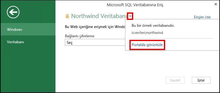 Portalda veri kaynağı bilgilerini görüntüleme