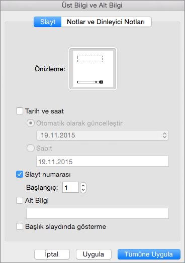 Mac için PowerPoint 2016'da Üst Bilgi ve Alt Bilgi iletişim kutusunu gösterir
