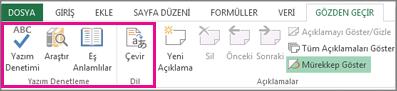 Yazım denetimi, eş anlamlılar sözlüğü ve çevirme seçenekleri