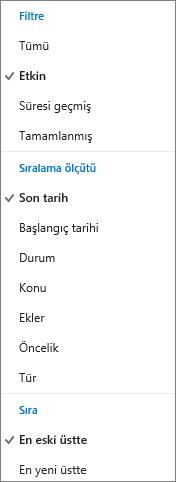 Outlook.com Görev listesinde görevleri nasıl filtreleyeceğinizi, sıralayacağınızı ve düzenleyeceğinizi seçme