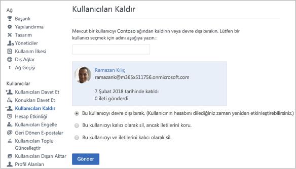 Yammer'da kullanıcının nasıl devre dışı bırakılacağını gösteren ekran görüntüsü.
