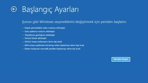 Windows Kurtarma Ortamı'ndaki Başlangıç Ayarları ekranı.