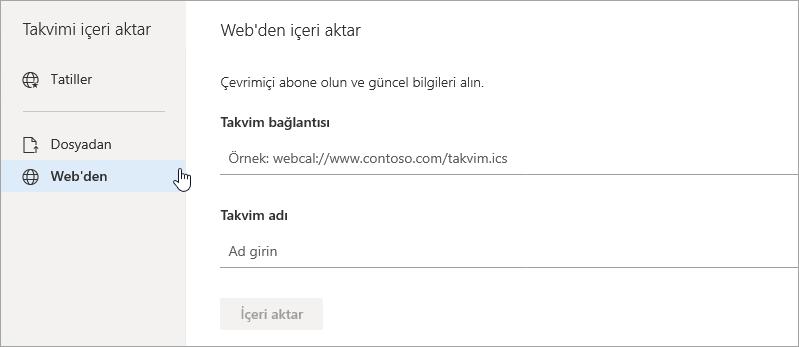 Webden içeri aktar seçeneğinin ekran görüntüsü