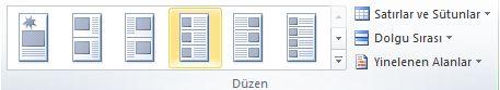 Katalog birleştirme düzeni seçenekleri