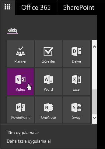 Video kutucuğunun etkin olduğu Uygulama Bölmesinin ekran görüntüsü.