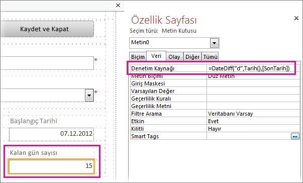 Bir Metin kutusunun Denetim Kaynağı özelliğine DateDiff işlevini girme.