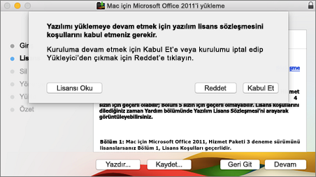 Yazılım lisans sözleşmesinin kabul edilmesi için gösterilen pencerenin ekran görüntüsü