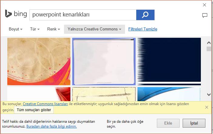 Bing'de PowerPoint kenarlıkları aramasının sonuçları.
