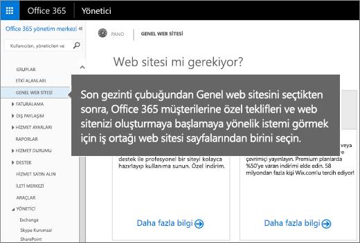 Office 365'te Genel web sitesi'ni seçin