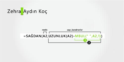 Ad ve üç bölümden oluşan soyadını ayırmayı sağlayan formül