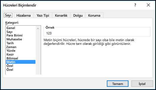 Sayı sekmesinin gösterildiği ve Metin seçeneğinin belirtildiği Hücreleri Biçimlendir iletişim kutusu