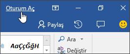 Office masaüstü uygulamasında oturum açma bağlantısını gösteren ekran görüntüsü