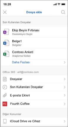 En son ve iCloud dosyaları içeren mobil ekran