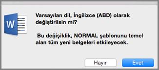 Mac için Office Varsayılan Dil