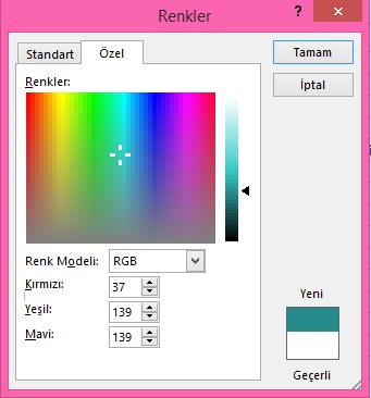 Özel renk karıştırma seçeneği