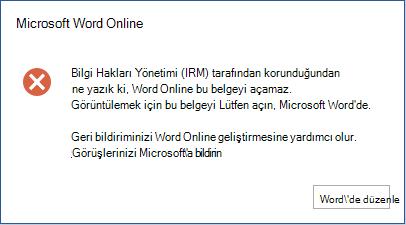 Üzgünüz, Bilgi Hakları Yönetimi (IRM) tarafından korundu diye Word Online bu belgeyi açabilirsiniz. Bu belgeyi görüntülemek için lütfen Microsoft Word'de açın.