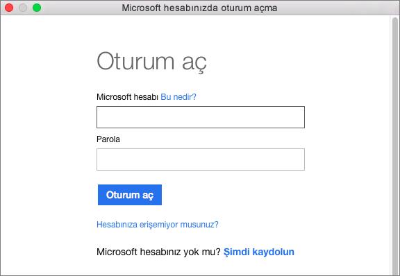 Hesabınızla ilişkili hizmetlere erişmek için Microsoft hesabınızın kimlik bilgilerini girin.