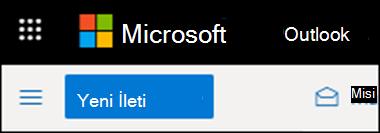 Web üzerinde Outlook'ta şeridin görüntüsü.