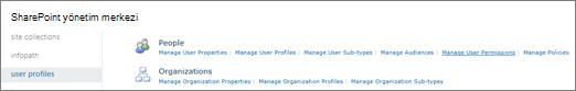 Kullanıcı profillerini sayfasında kullanıcı izinlerini Yönet bağlantısı
