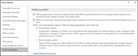 Windows için Office'teki Güven Merkezi Ayarları'nın Gizlilik seçenekleri bölümü