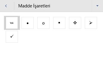 Android için Word madde işaretli liste menüsü