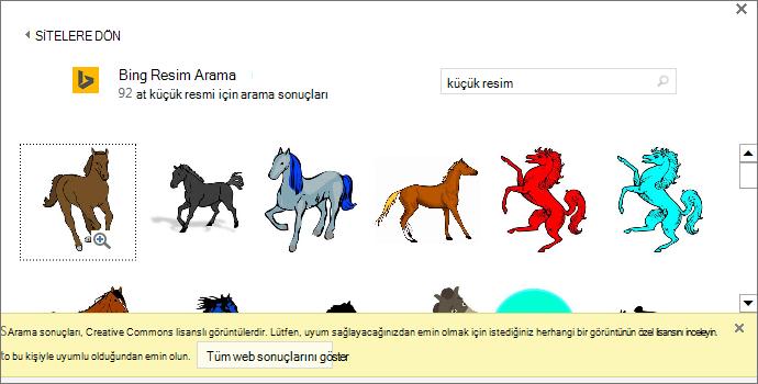 """""""At küçük resim"""" ifadesiyle arama yaptığınızda size Creative Commons lisansı kapsamında olan çeşitli resimler sunulur."""