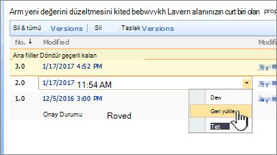 Sürüm oluşturma açılan vurgulanmış geri yükleme ile dosya üzerinde