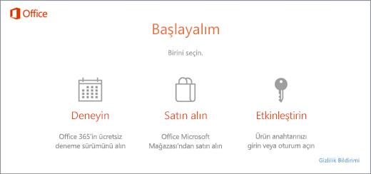 Önceden Office yüklenmiş olarak gelen bilgisayardaki varsayılan deneme, satın alma ve etkinleştirme seçeneklerini gösteren ekran görüntüsü.