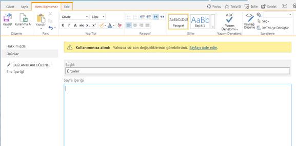 Sayfanın kullanıma alındığını gösteren sarı çubukla yeni yayımlama sayfasının ekran görüntüsü