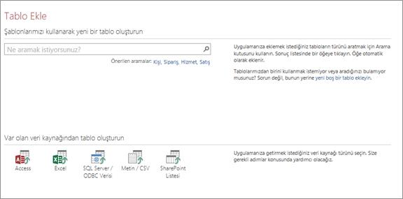 Bir Access web uygulamasına tablo ekleme