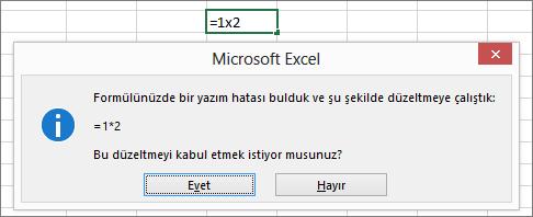 Çarpma için x'i * ile değiştirilmesini isteyen ileti kutusu