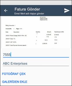 Kaizala Fatura Gönderme