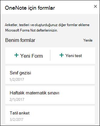 OneNote Online'da OneNote için Formlar bölmesi