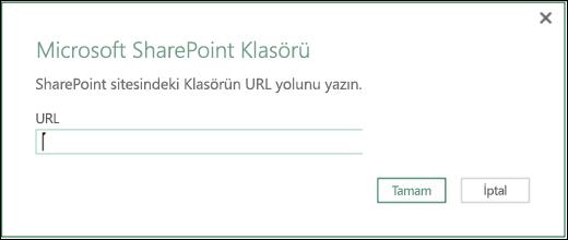 Excel Power BI SharePoint Klasörü bağlayıcısı iletişim kutusu