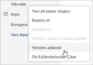 Yeniden Adlandır seçili olan klasörleri bağlam menüsünün ekran görüntüsü