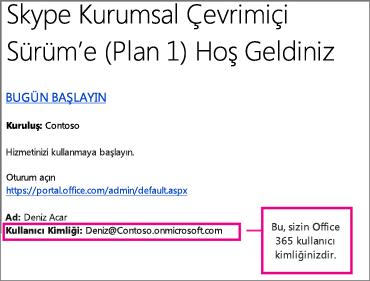 Skype Kurumsal Çevrimiçi Sürüm'e kaydolduktan sonra aldığınız bir hoş geldiniz e-postası örneği. Office 365 kullanıcı kimliğinizi içerir.
