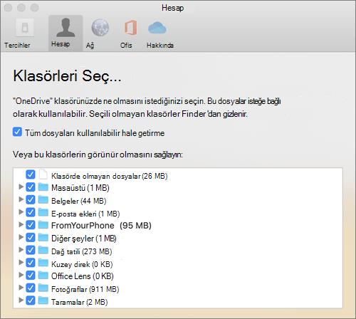 Mac için OneDrive tercihler penceresinin altındaki klasörleri seç iletişim kutusu