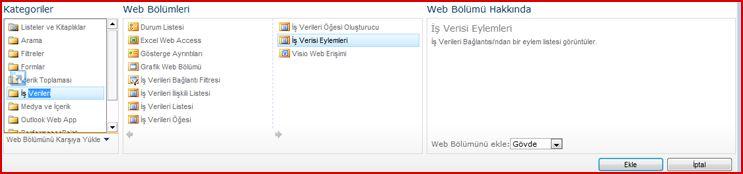 Web Bölümü Seçici, Excel Web Access Web Bölümünü gösteriyor