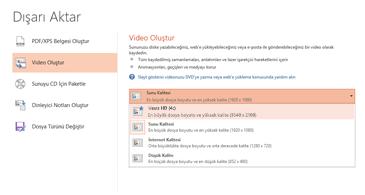 Video tabanlı bir sunu oluşturulurken kullanılabilen seçenekleri gösteren Dışarı Aktarma iletişim kutusunun ekran görüntüsü