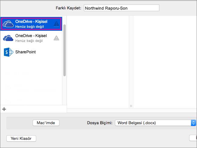 Belgenizi OneDrive'a veya başka bir çevrimiçi konuma kaydetmek için Çevrimiçi Konumlar'a tıklayın.
