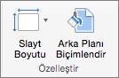 Slayt Boyutu ve Arka Planı Biçimlendir seçenekleriyle Özelleştir grubunu gösteren ekran görüntüsü.